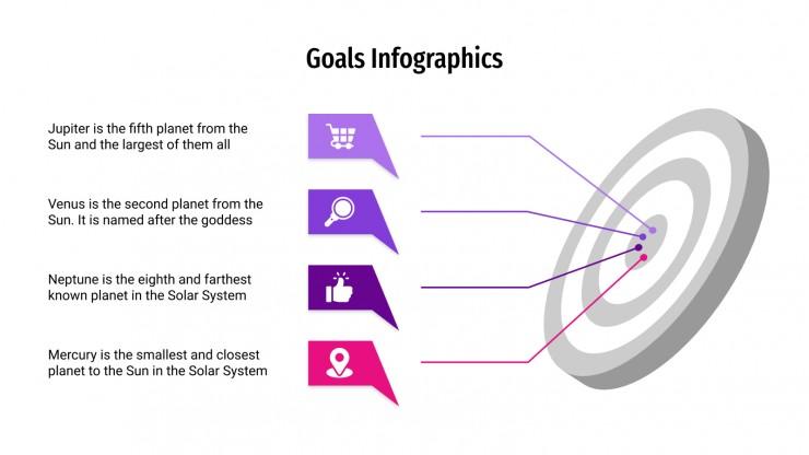 Modelo de apresentação Infográficos de metas