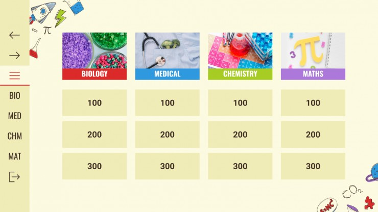 Sciences Jeopardy Lesson presentation template