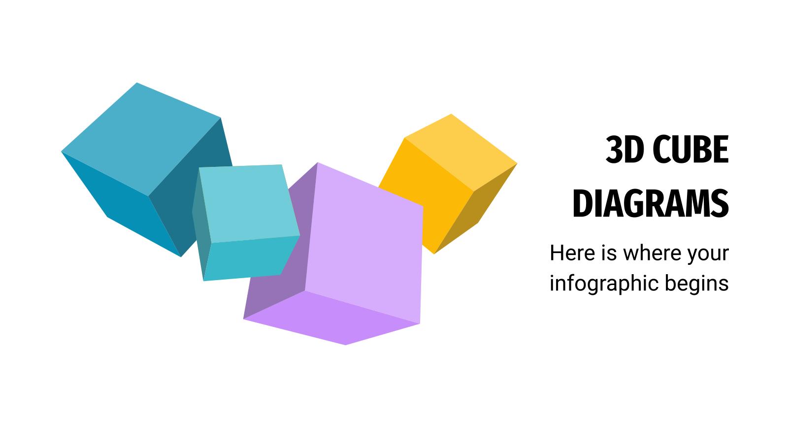 Modelo de apresentação Diagrama de cubos 3D