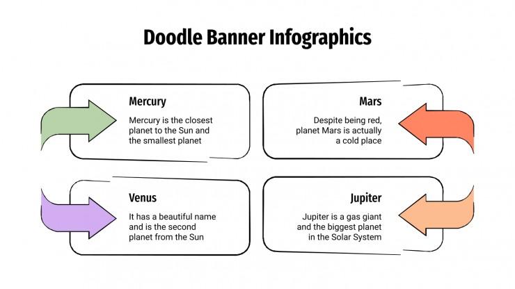 Plantilla de presentación Infografías de banners con doodles