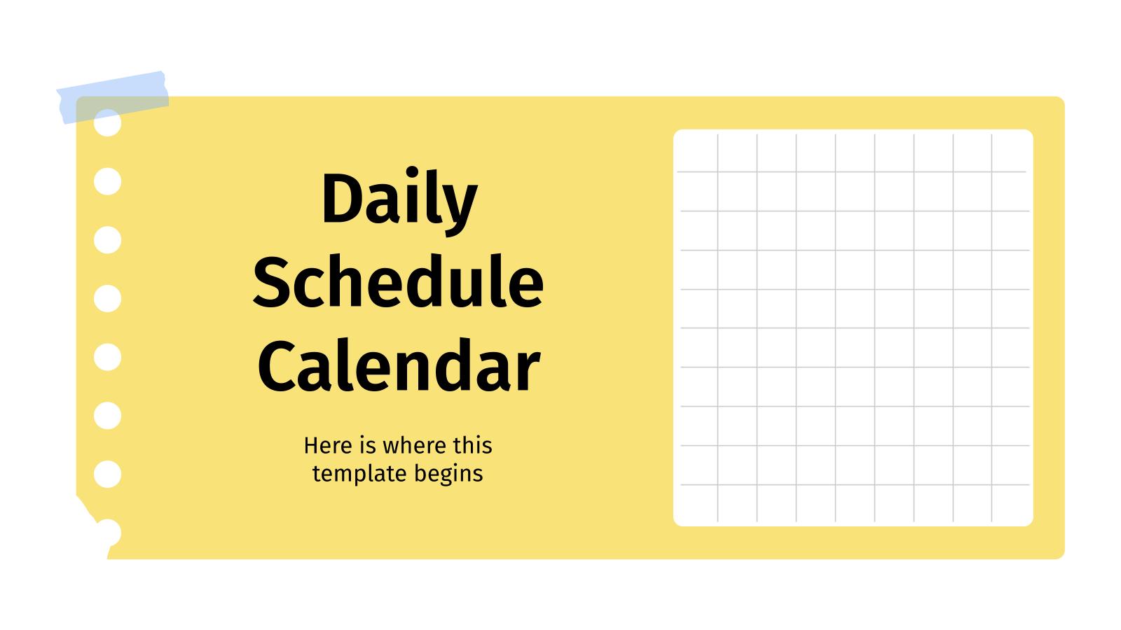Plantilla de presentación Calendario de actividades diarias