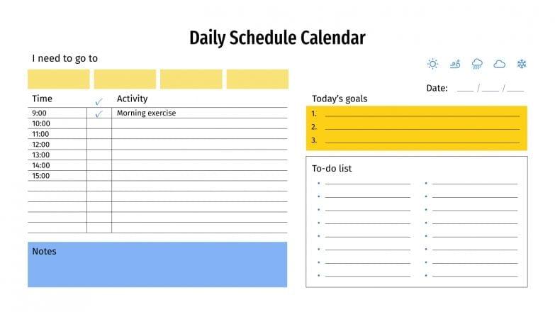 Daily Schedule Calendar presentation template