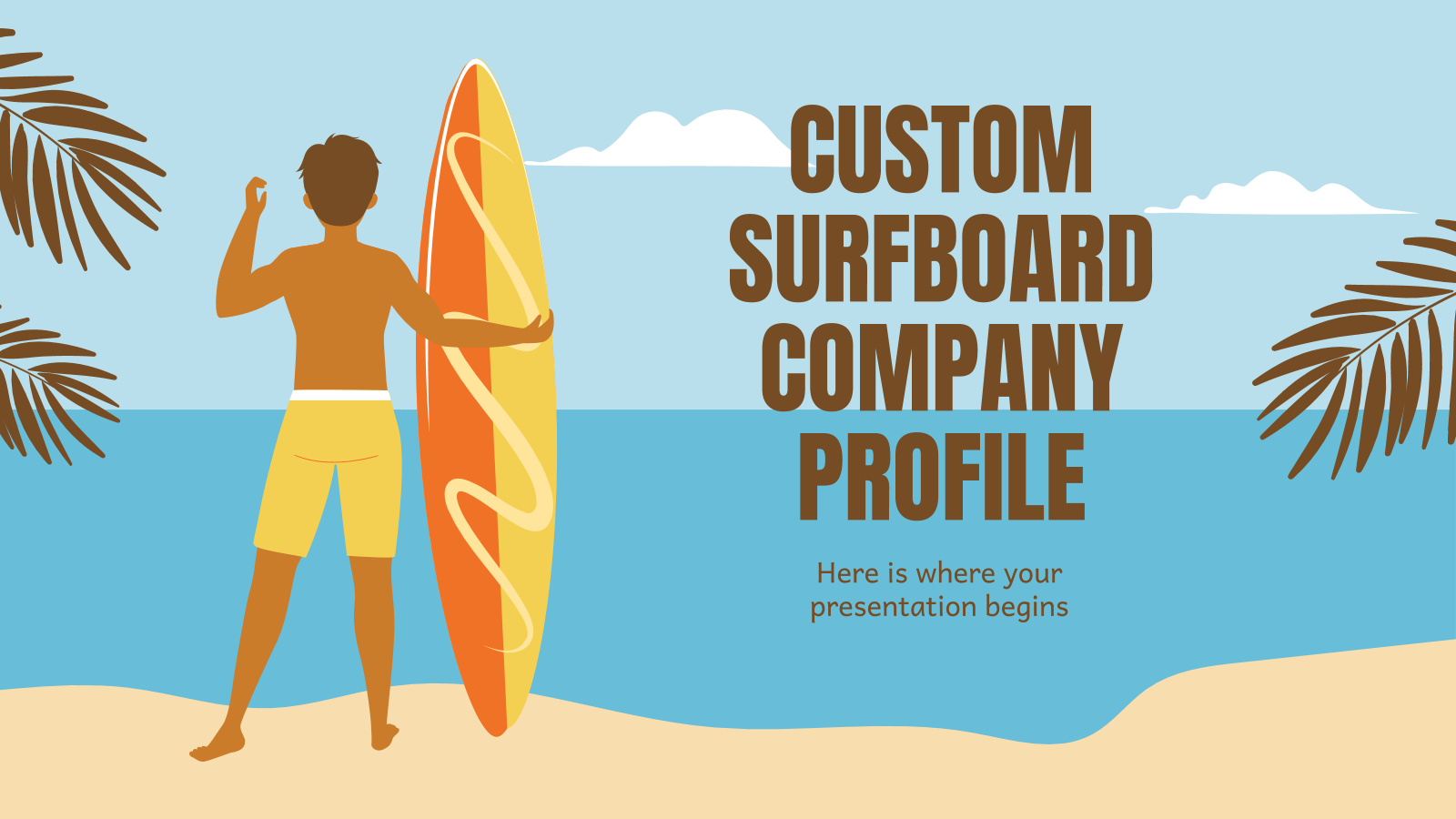 Custom Surfboard Company Profile presentation template