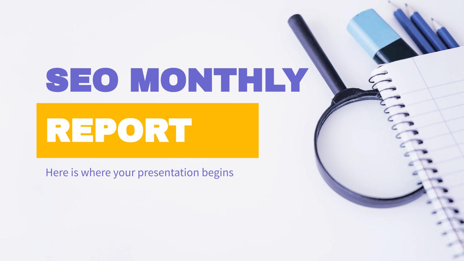Modelo de apresentação Relatório mensal sobre SEO