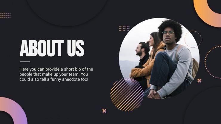 Plantilla de presentación Diapositivas Memphis para excursionistas