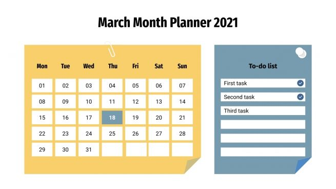 March Month Planner 2021 presentation template