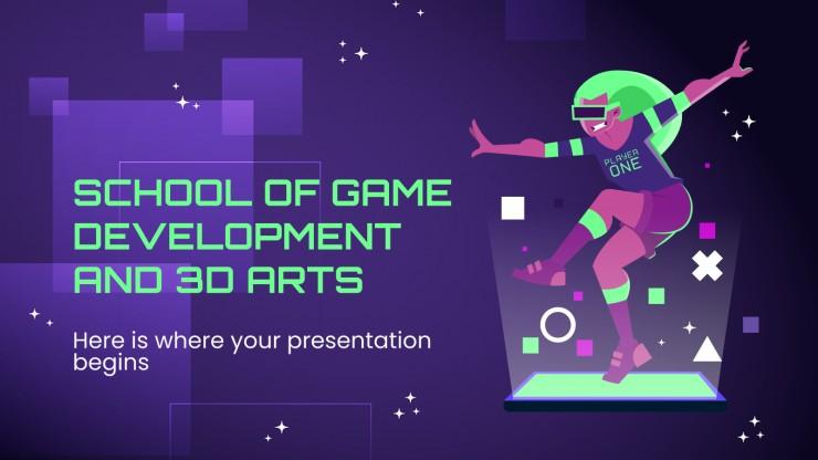 Modelo de apresentação Escola de desenvolvimento de jogos e 3D