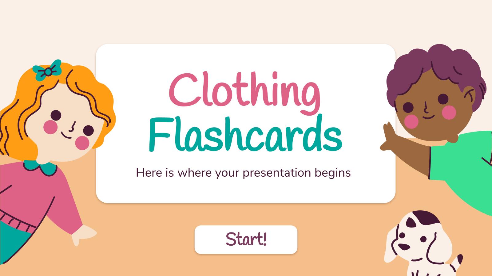 Modelo de apresentação Flashcards de roupas