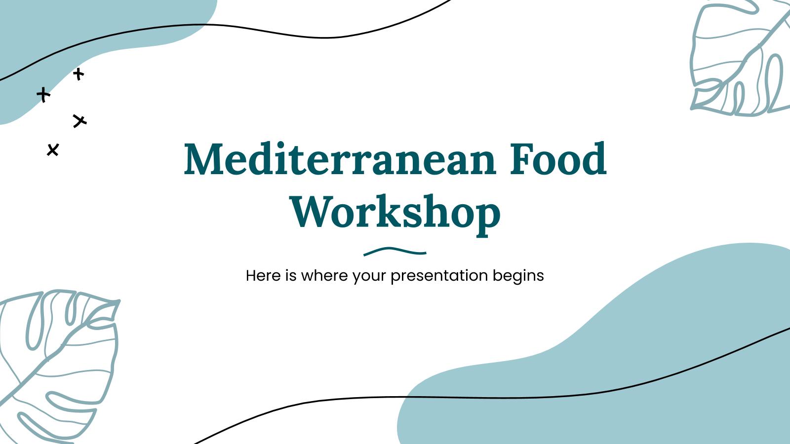 Modelo de apresentação Aula de culinária mediterrânea