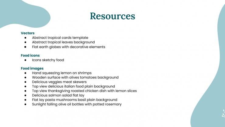 Atelier sur l'alimentation méditerranéenne : Modèles de présentation