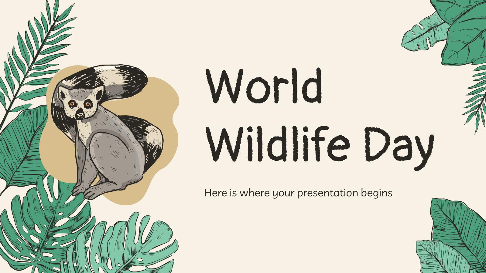 Plantilla de presentación Día Mundial de la Vida Silvestre con doodles