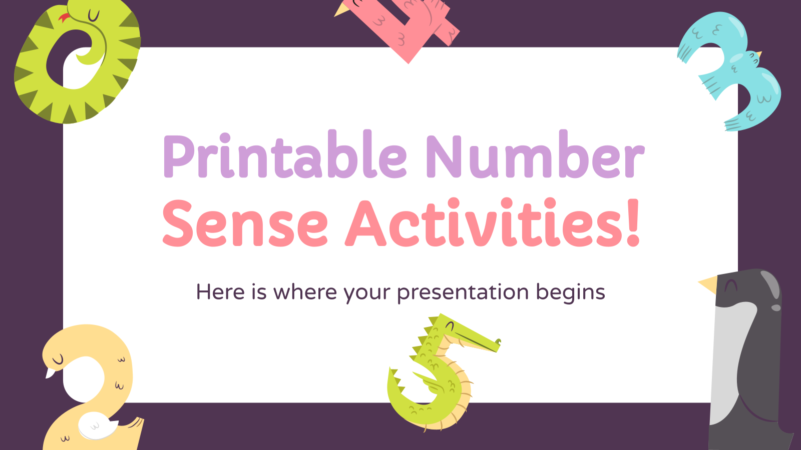 Printable Number Sense Activities! presentation template