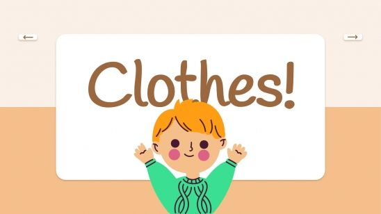 Plantilla de presentación Tarjetas educativas sobre ropa
