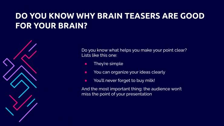 Modelo de apresentação Desafios cerebrais para o ensino médio