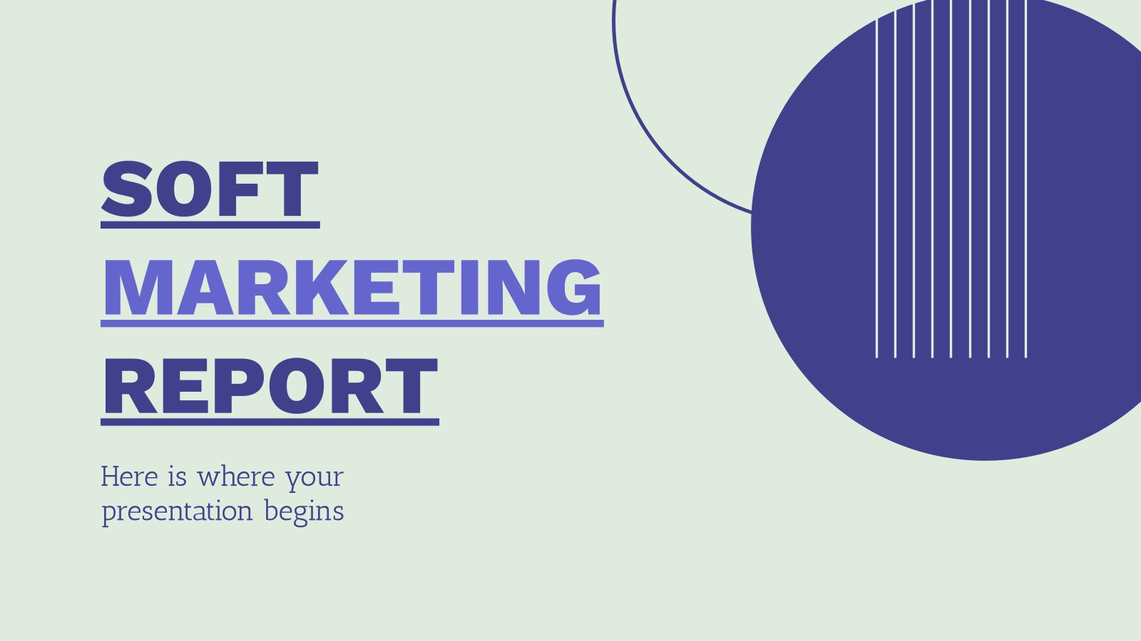Modelo de apresentação Relatório de marketing suave