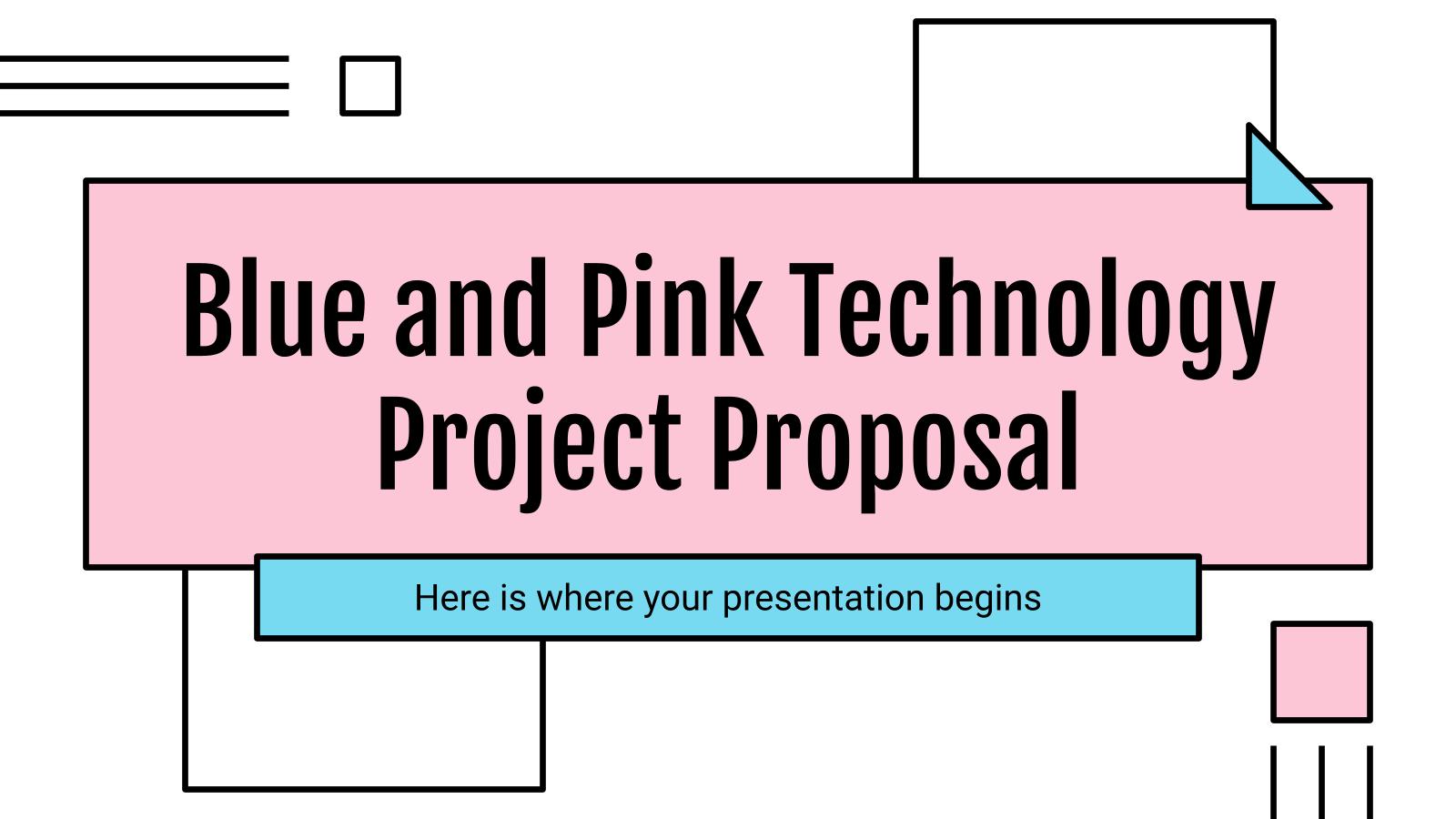 Plantilla de presentación Propuesta de proyecto tecnológico azul y rosa