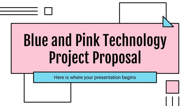 Modelo de apresentação Proposta de projeto tecnológico azul e rosa
