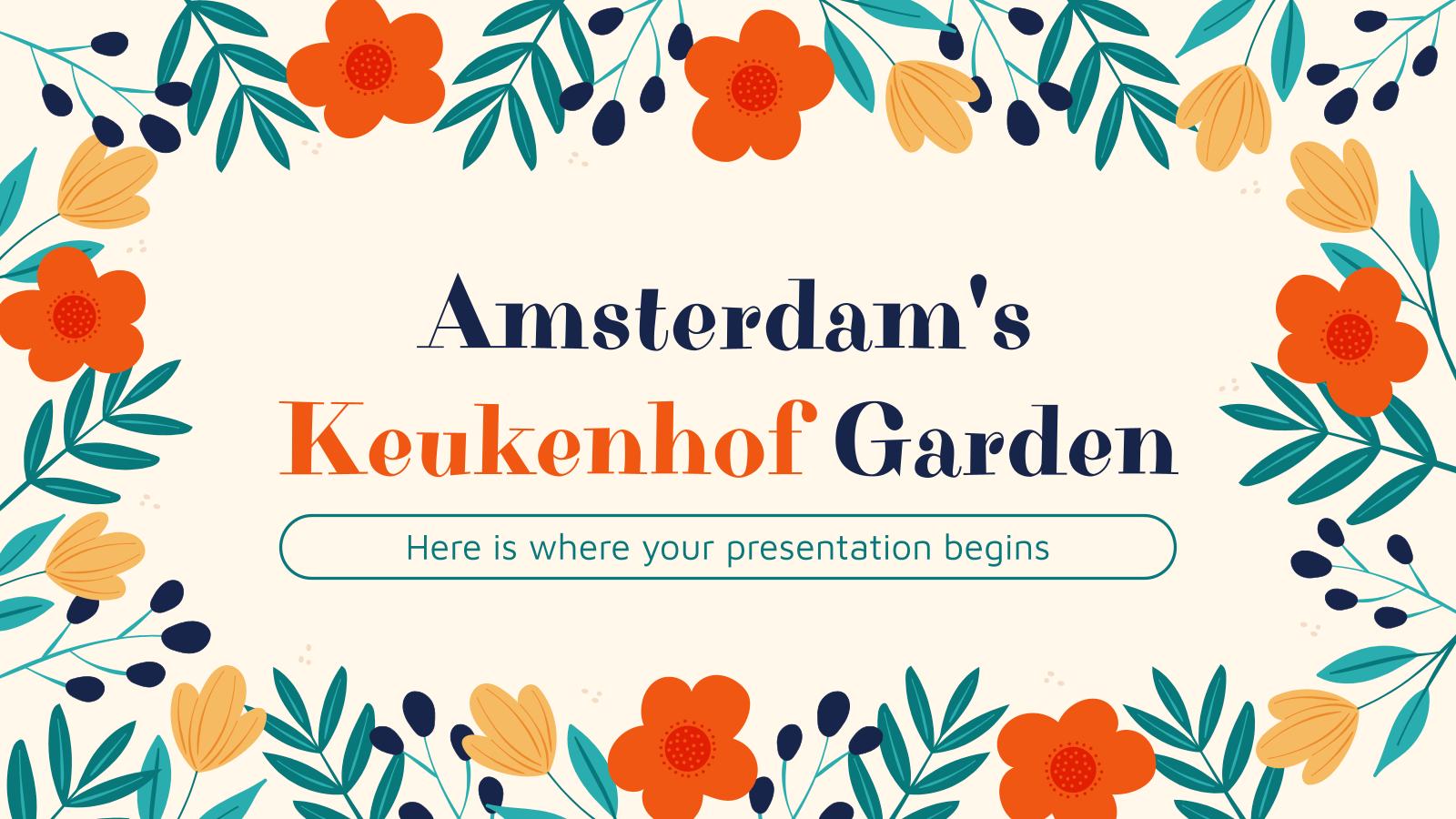 Modelo de apresentação Jardim Keukenhof de Amsterdã