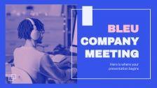 Plantilla de presentación Reunión de empresa Bleu