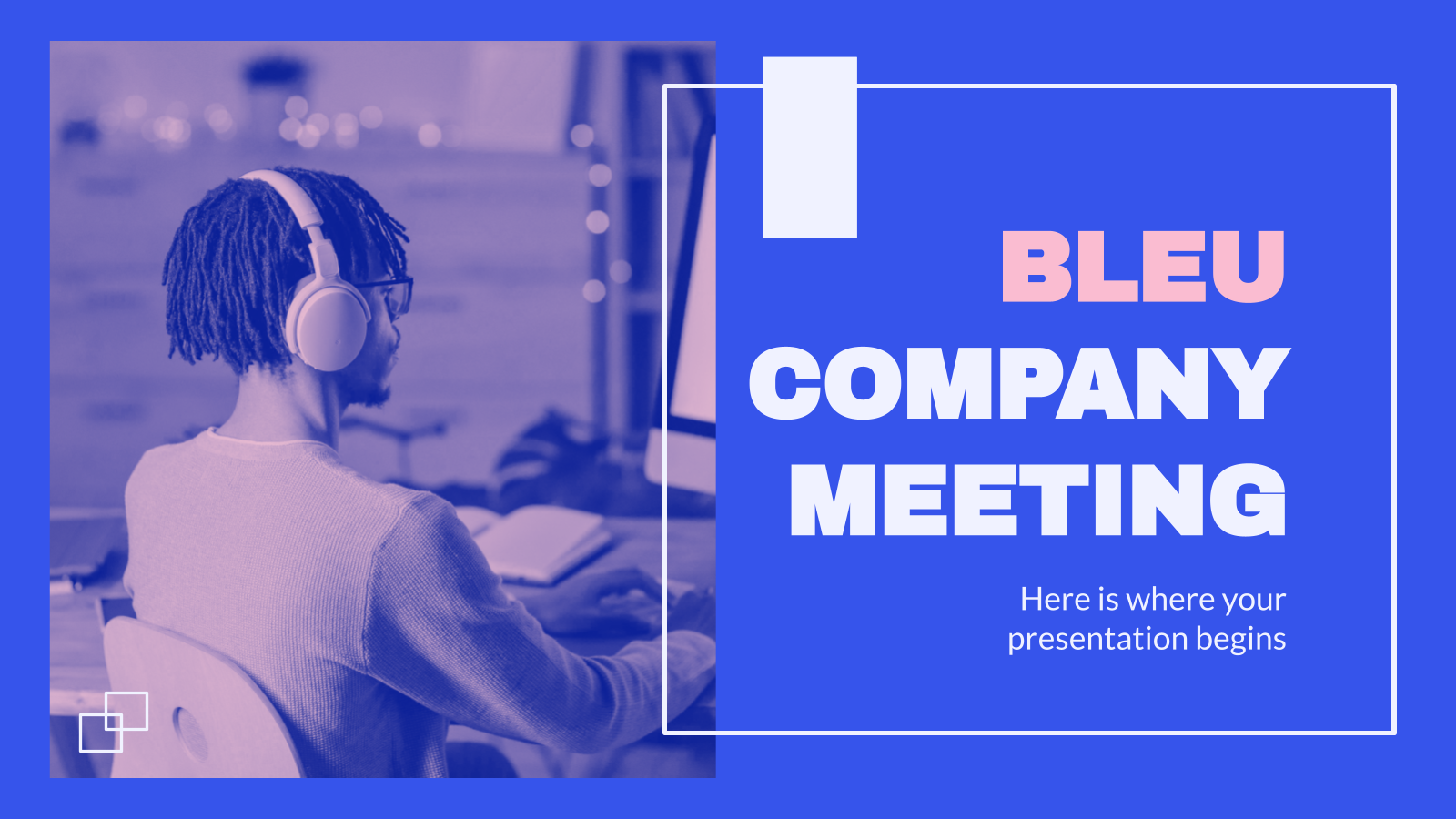 Bleu Company Meeting presentation template