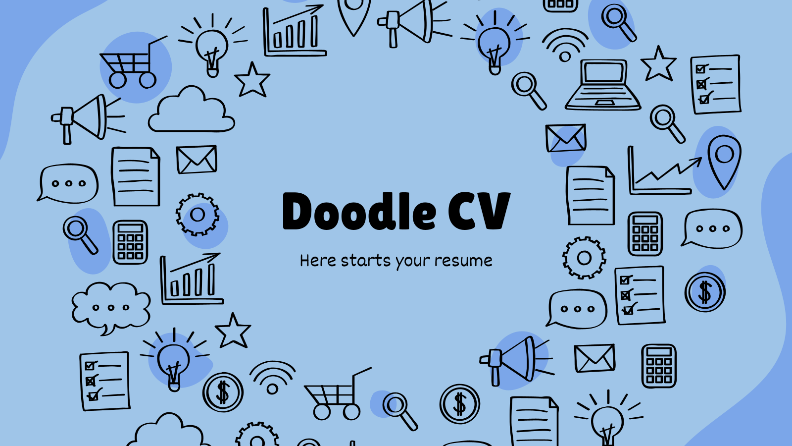 Plantilla de presentación CV con doodles