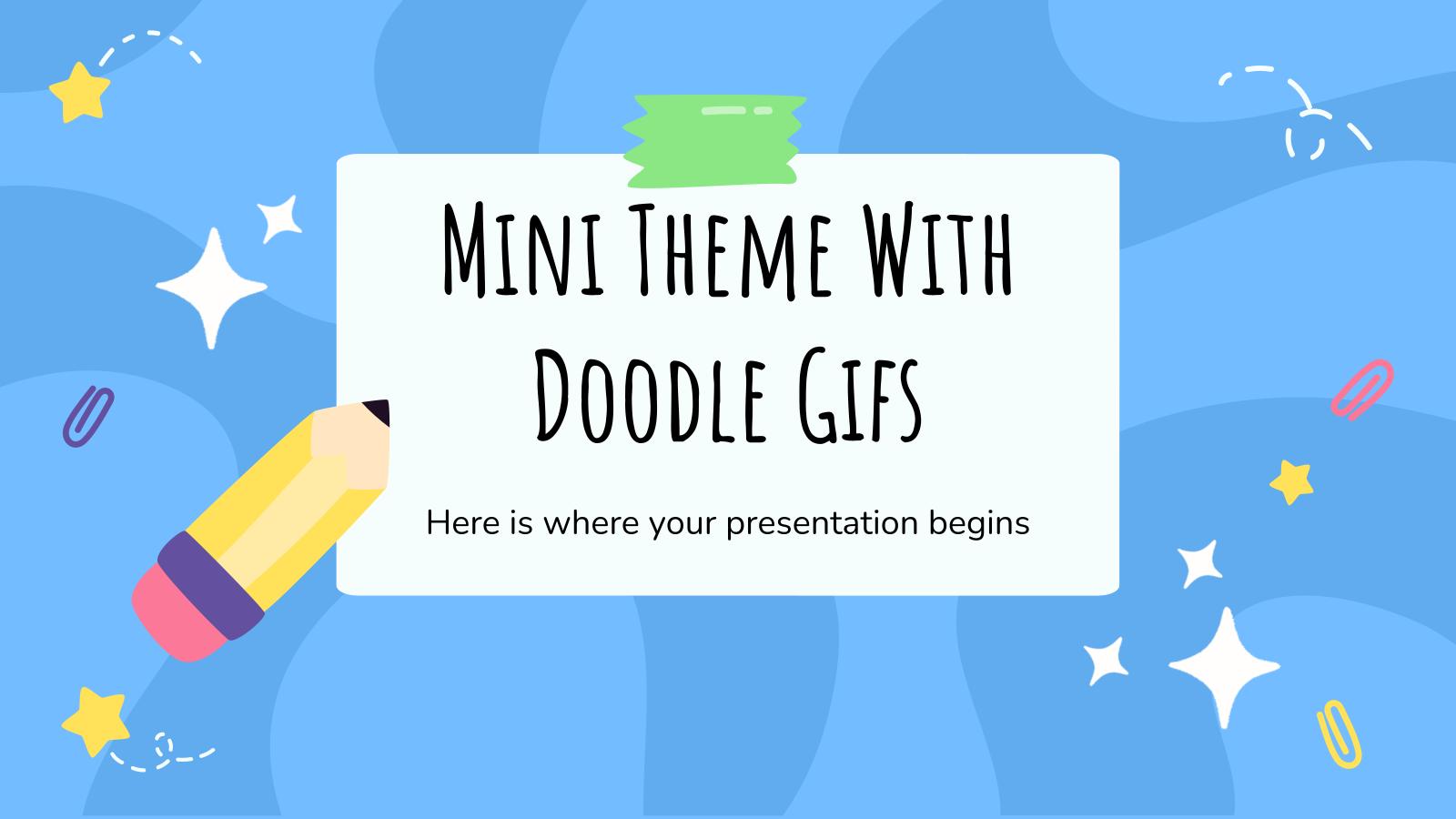 Modelo de apresentação Mini-tema com Doodle Gifs