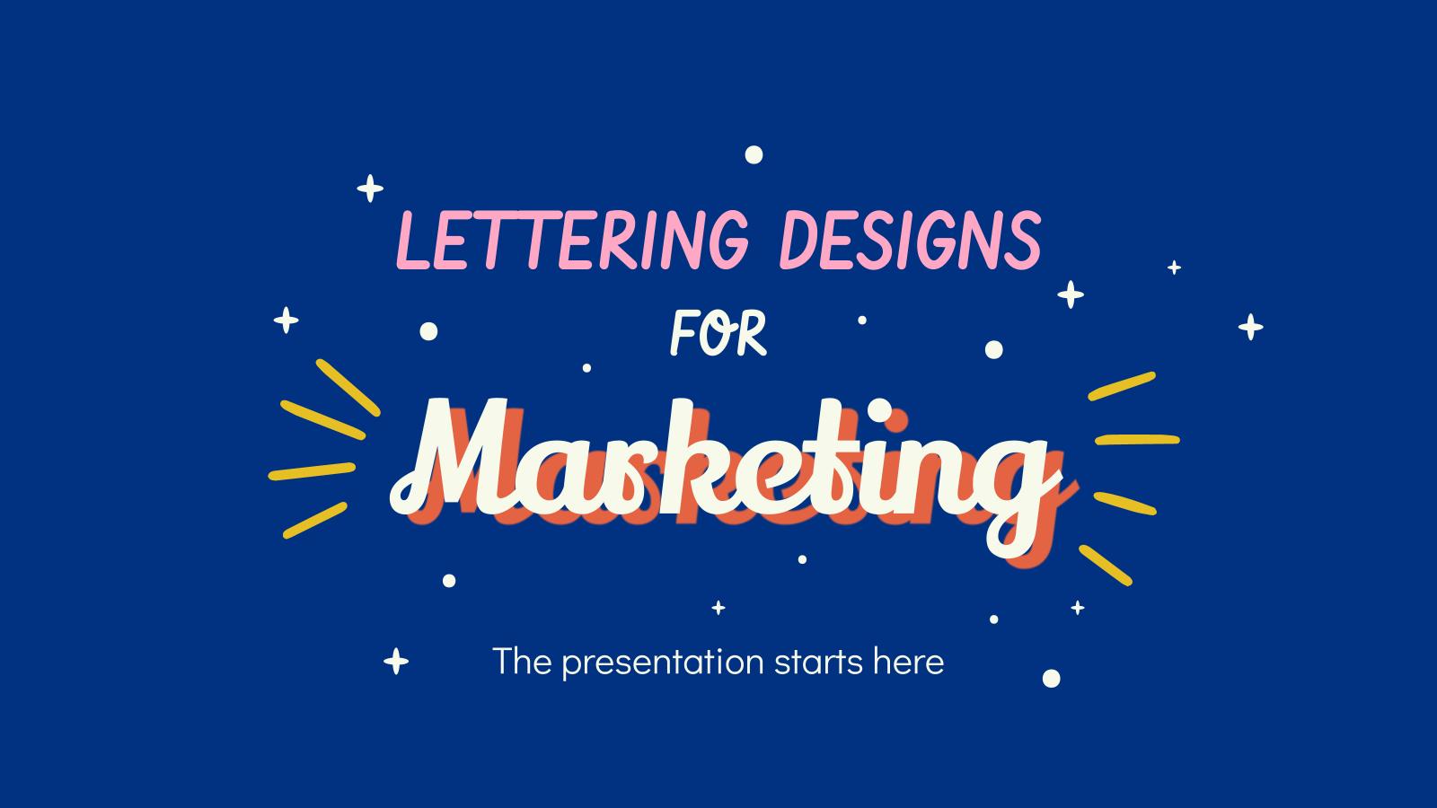Modelo de apresentação Desenhos de lettering para marketing