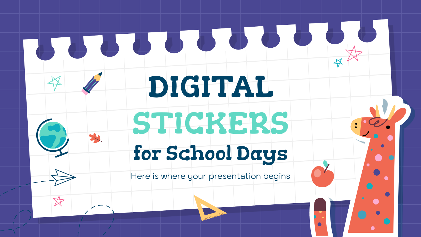 Digital Stickers for School Days presentation template