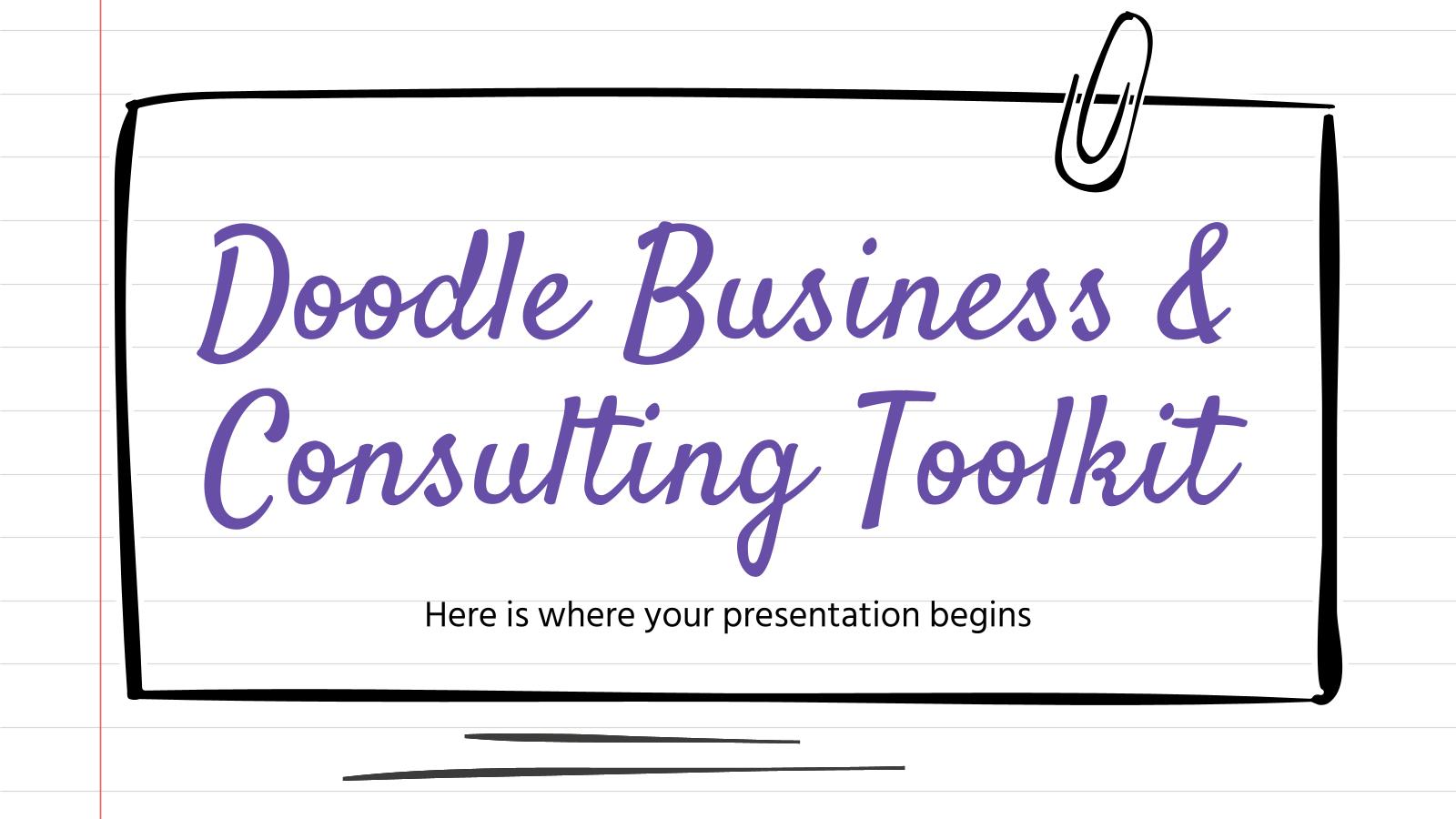 Modelo de apresentação Kit de negócios e consultoria com rabiscos
