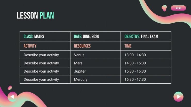 Plan de cours du premier semestre : Modèles de présentation