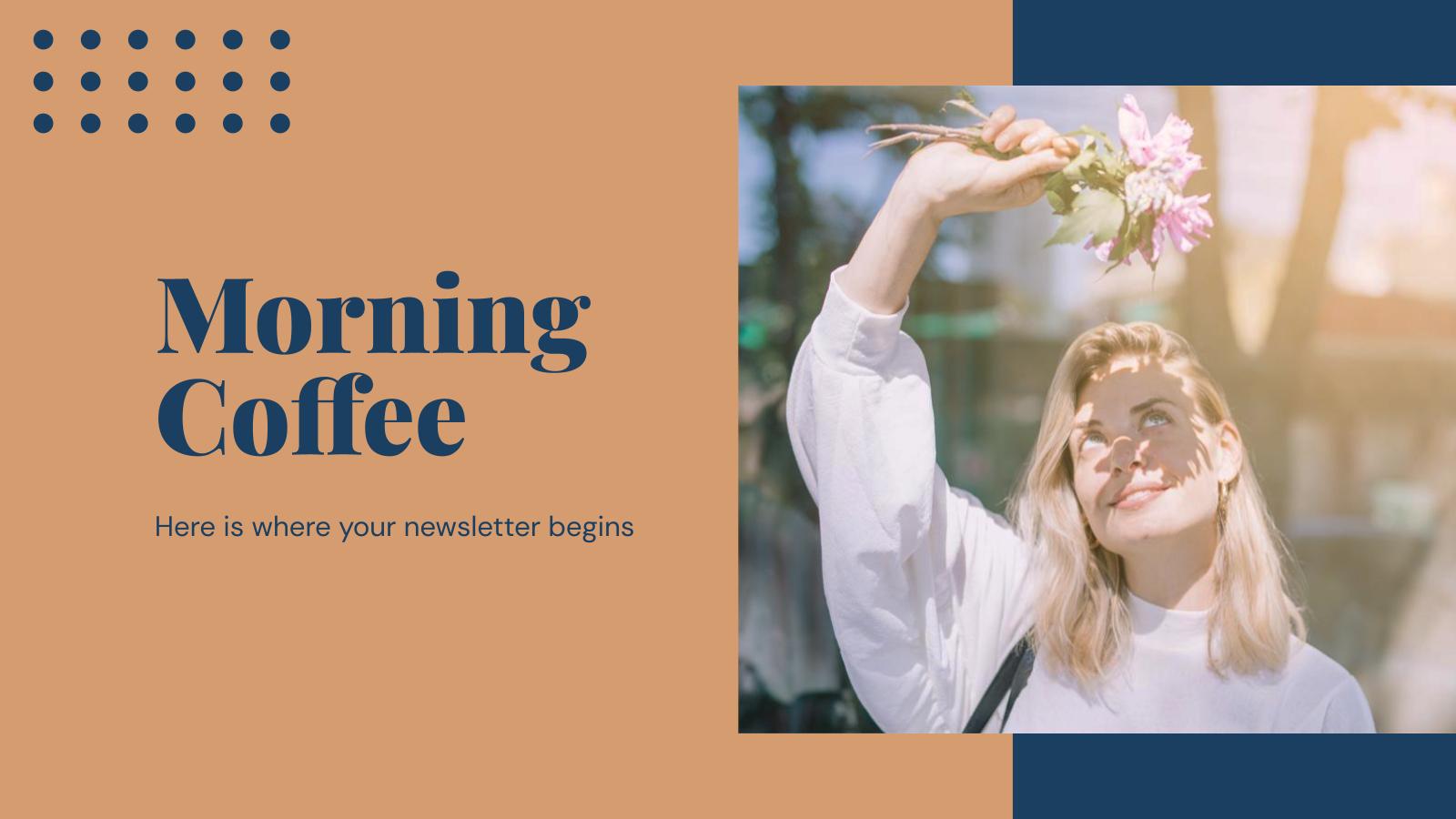 Plantilla de presentación Newsletter para el café mañanero