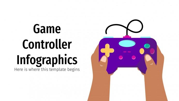 Modelo de apresentação Infográficos de controladores de videogames