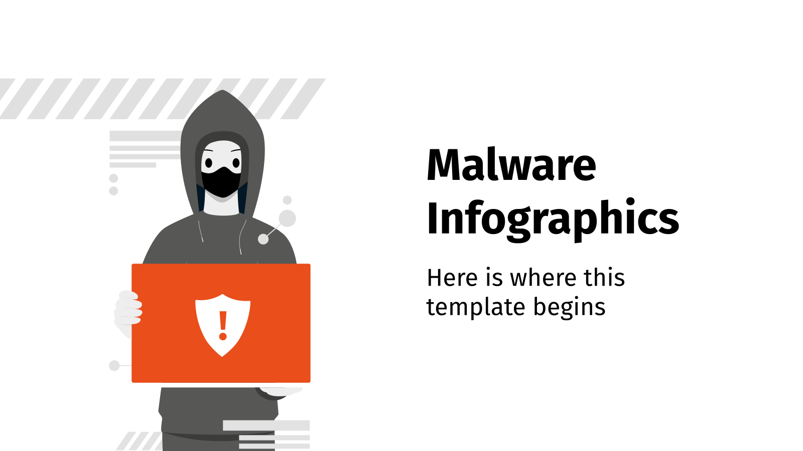 Plantilla de presentación Infografías sobre malware