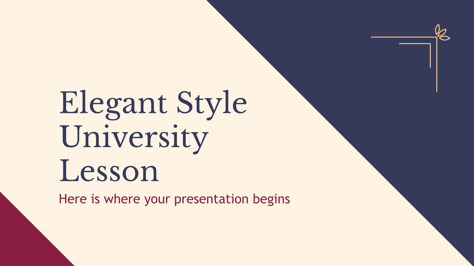 Elegant Style University Lesson presentation template