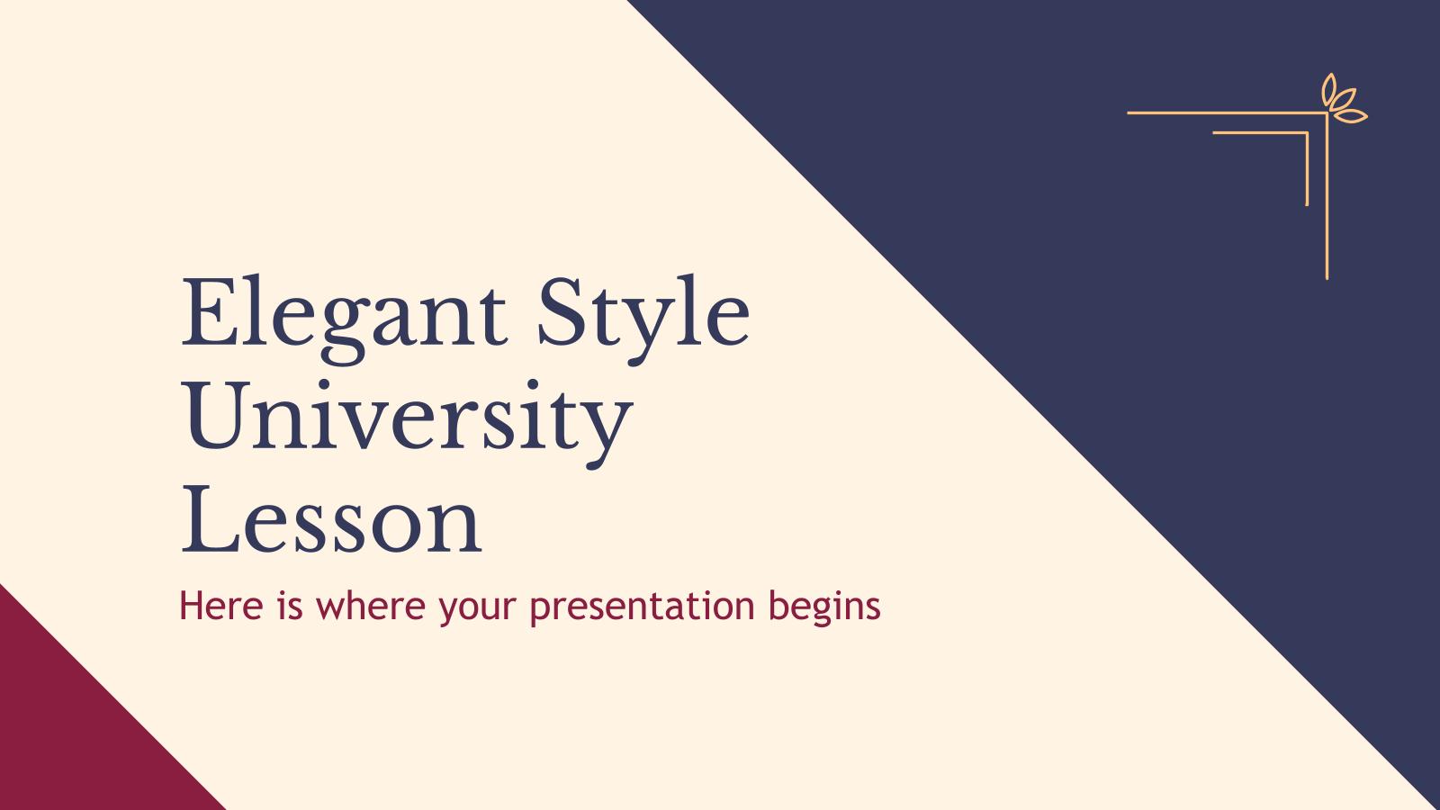 Plantilla de presentación Lección universitaria de estilo elegante