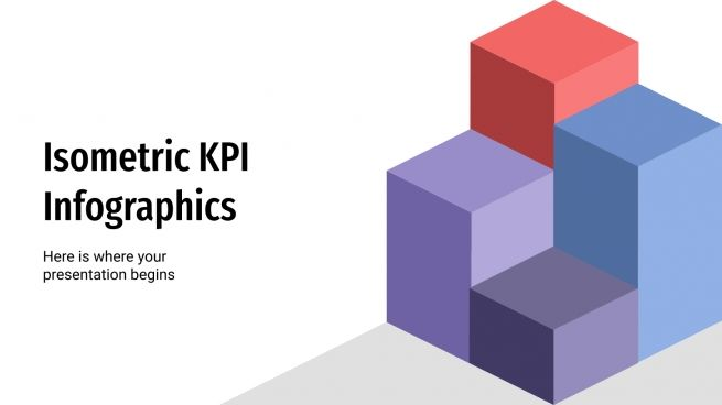 Isometric KPI infographics presentation template
