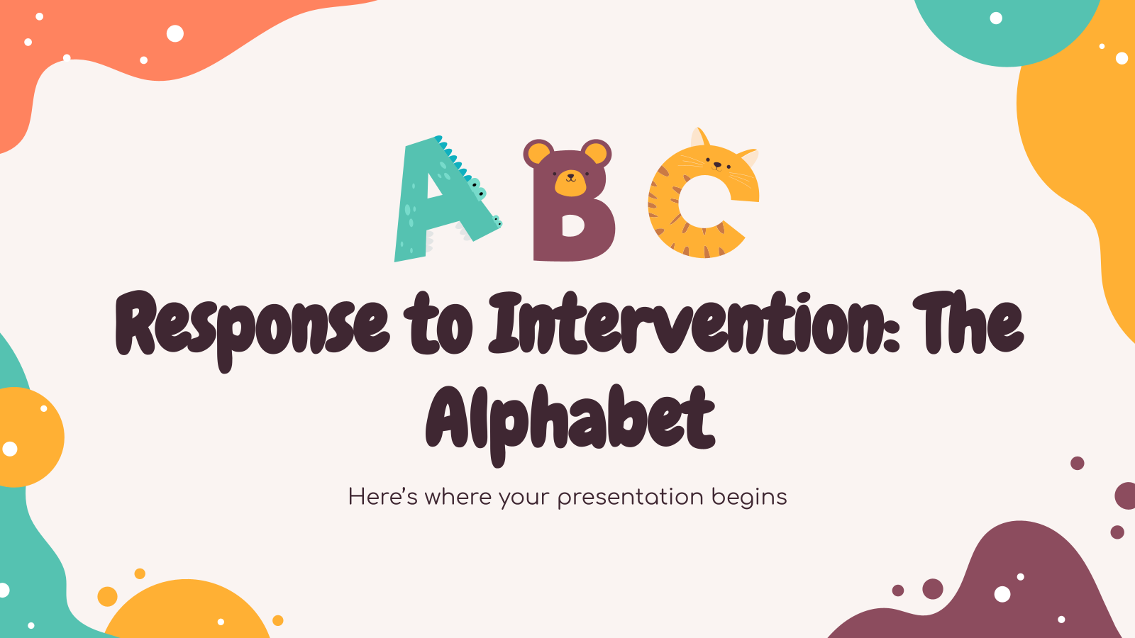 Response to Intervention: The Alphabet presentation template
