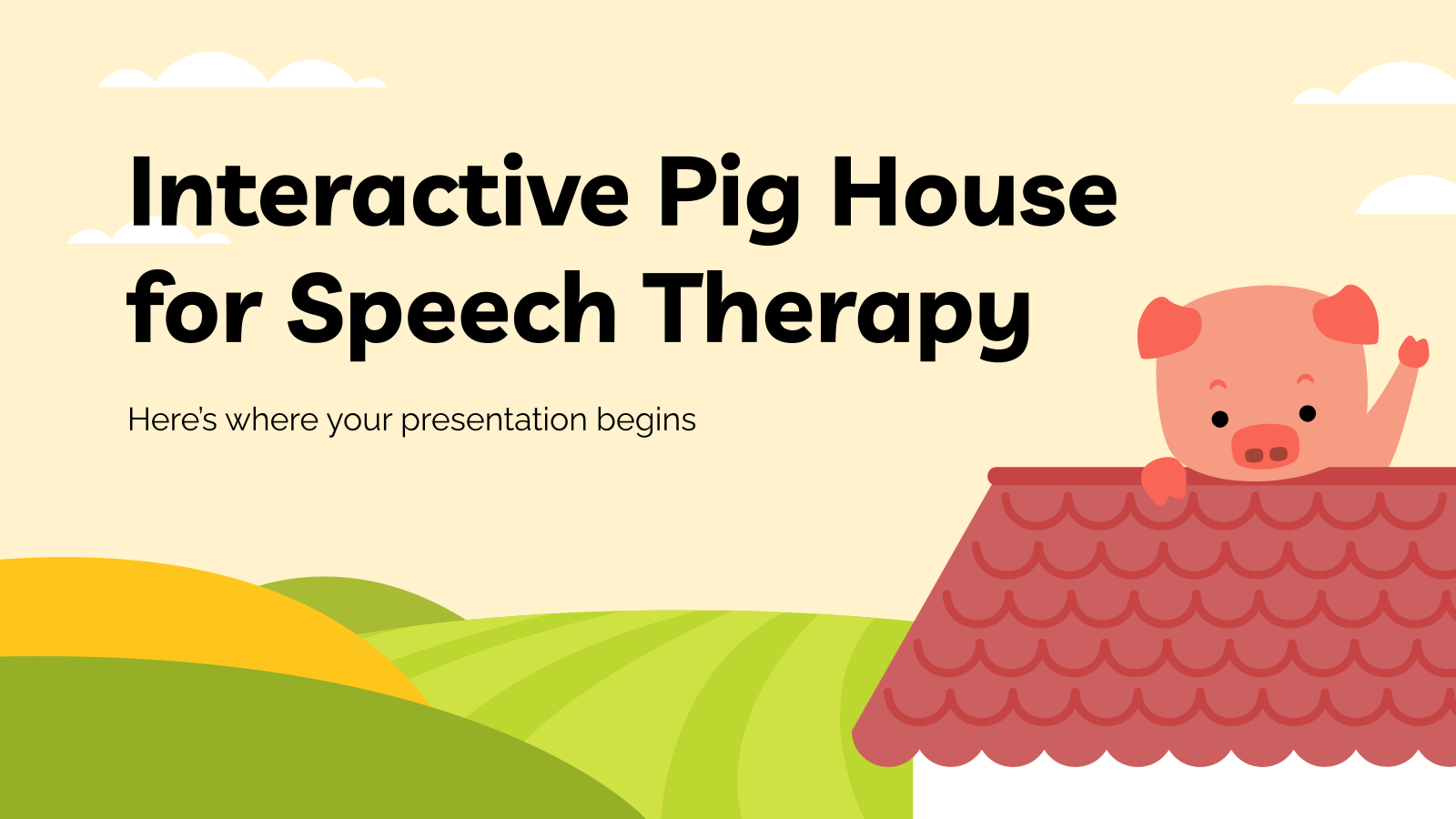 Interactive Pig House for Speech Therapy presentation template