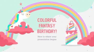 Modelo de apresentação Aniversário fantástico colorido