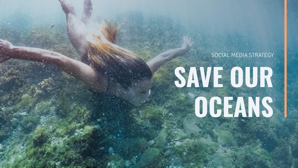 Modelo de apresentação Estratégia de redes sociais salve nossos oceanos
