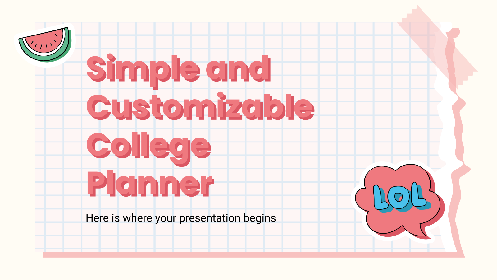 Simple and Customizable College Planner presentation template