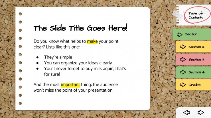 Plantilla de presentación Tablón de corcho interactivo