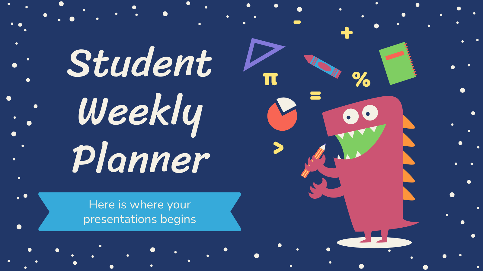 Plantilla de presentación Agenda semanal para estudiantes