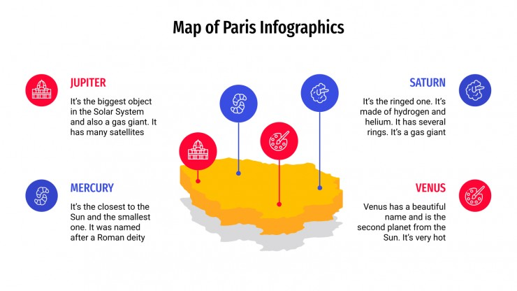 Modelo de apresentação Infográficos com mapas de Paris