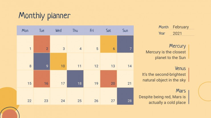 Simple Education Planners & Schedules presentation template