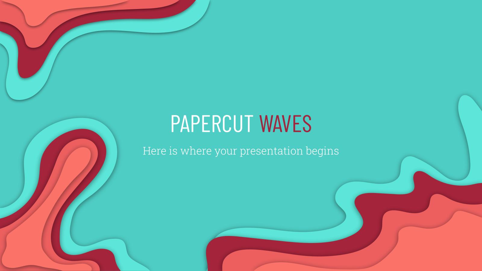Modelo de apresentação Ondas de corte de papel
