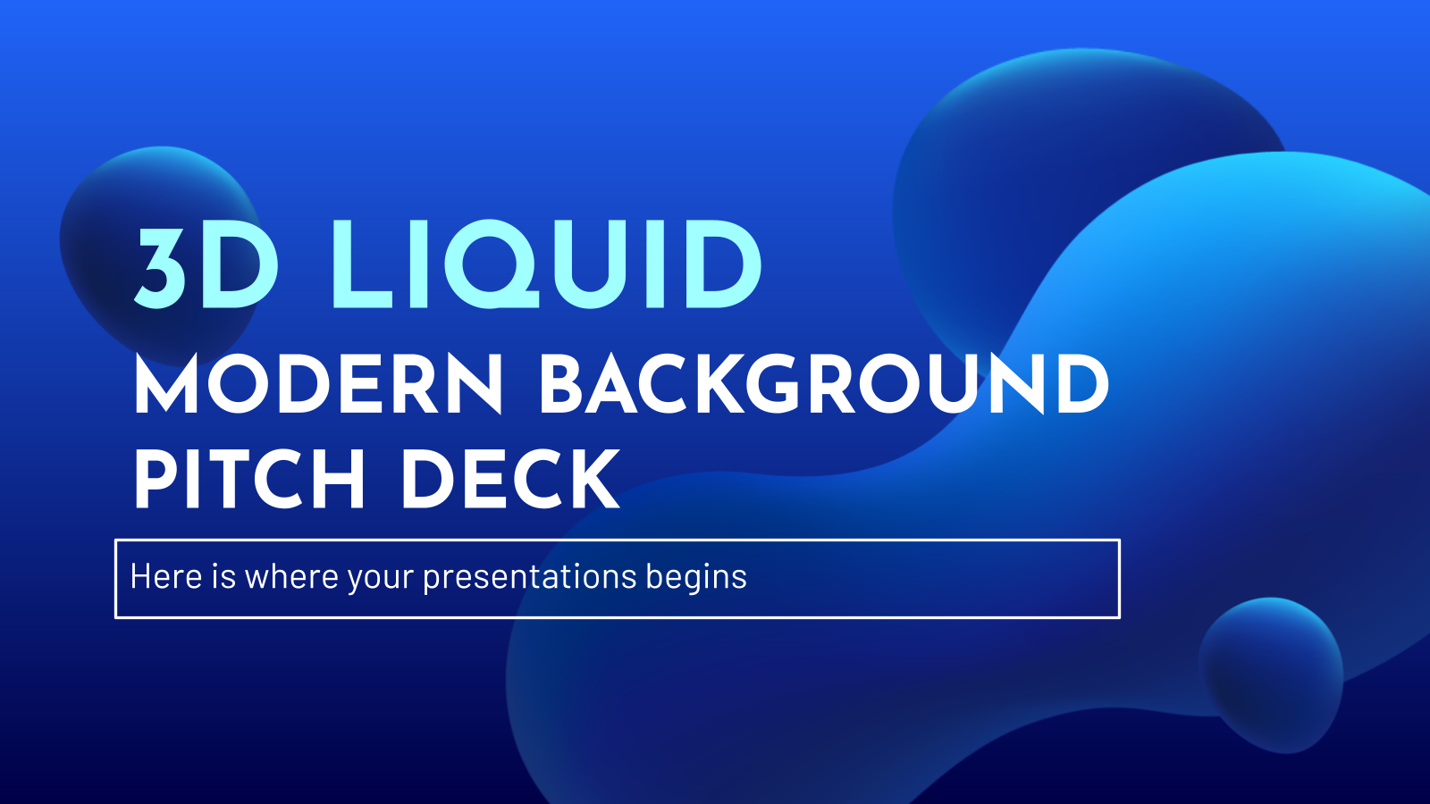 3D Liquid Modern Background Pitch Deck presentation template