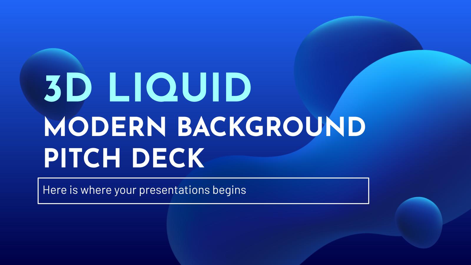 Plantilla de presentación Pitch Deck fondo moderno líquido 3D