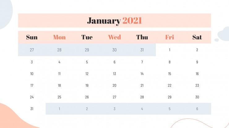 Plantilla de presentación Diapositivas diarias de enero
