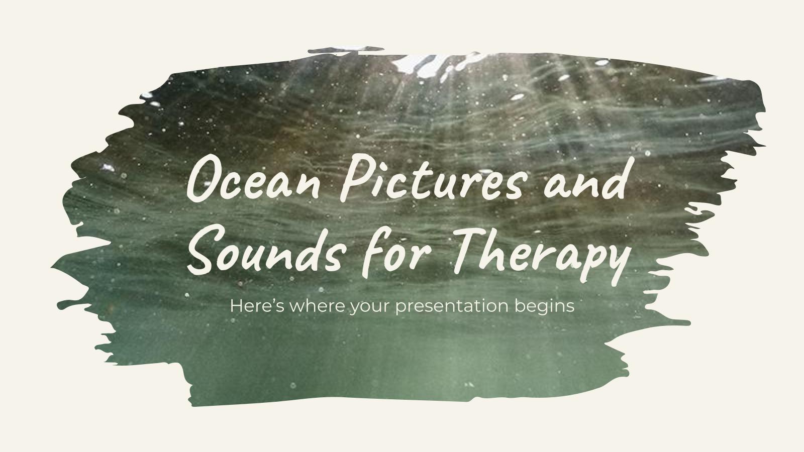 Modelo de apresentação Fotos e sons oceânicos para terapia